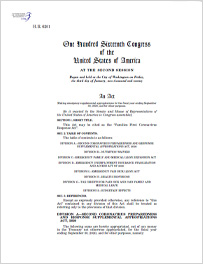 Front page of the final Families First Cares Act Bill