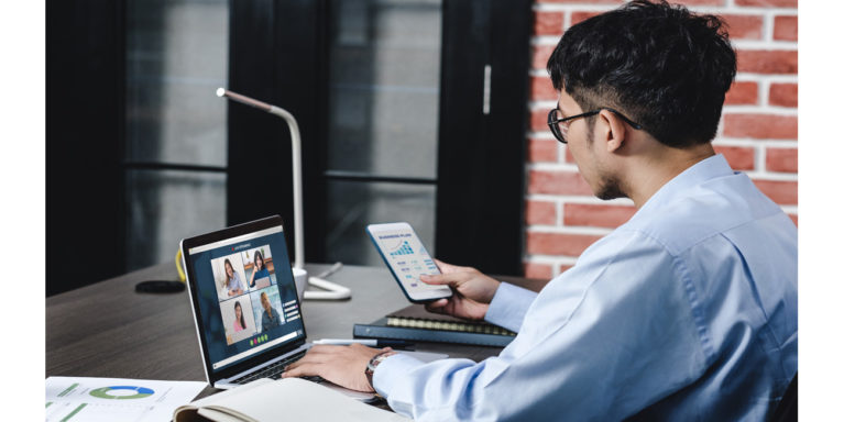 Man using video conferencing tool