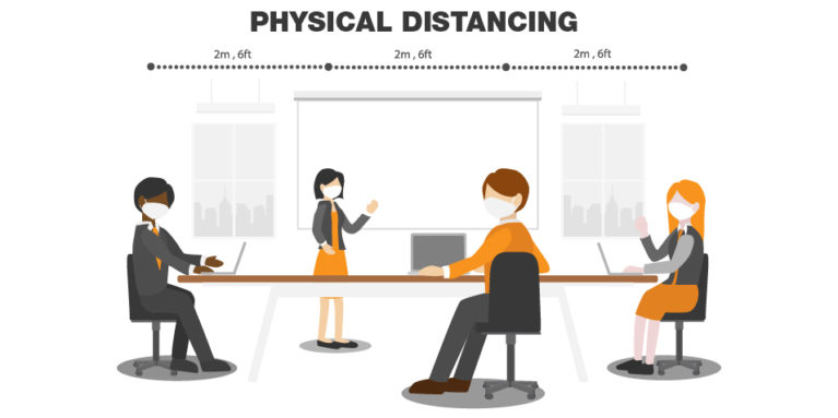 illsutration of office workers sitting 6 feet apart
