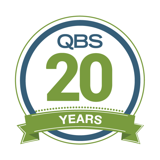 a QBS logo celebrating 20 years in business