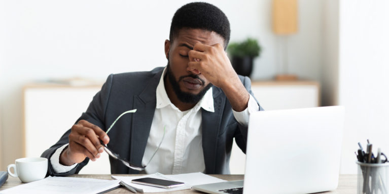 Stressed out businessman may be starting to burnout