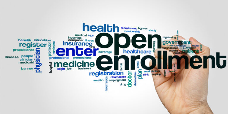 word cloud focused on employee benefits open enrollment