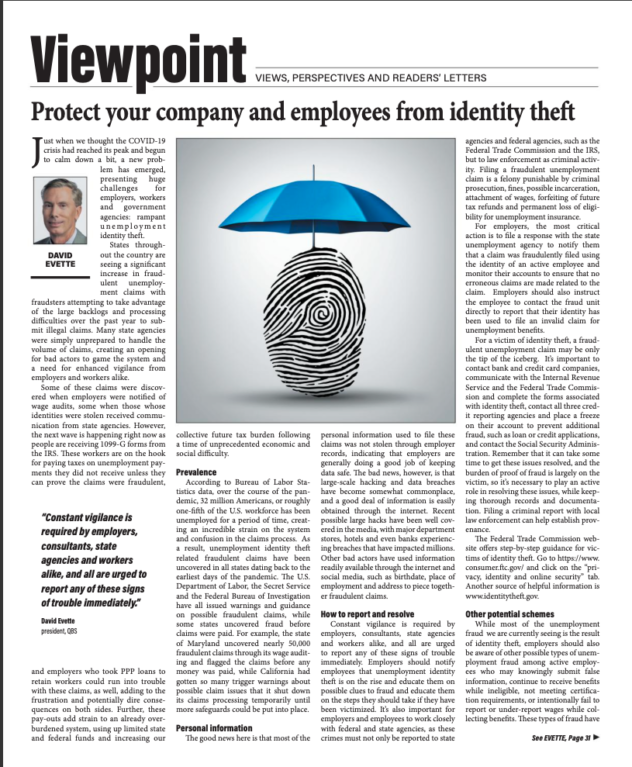 screenshot of the article in GSA Business Report